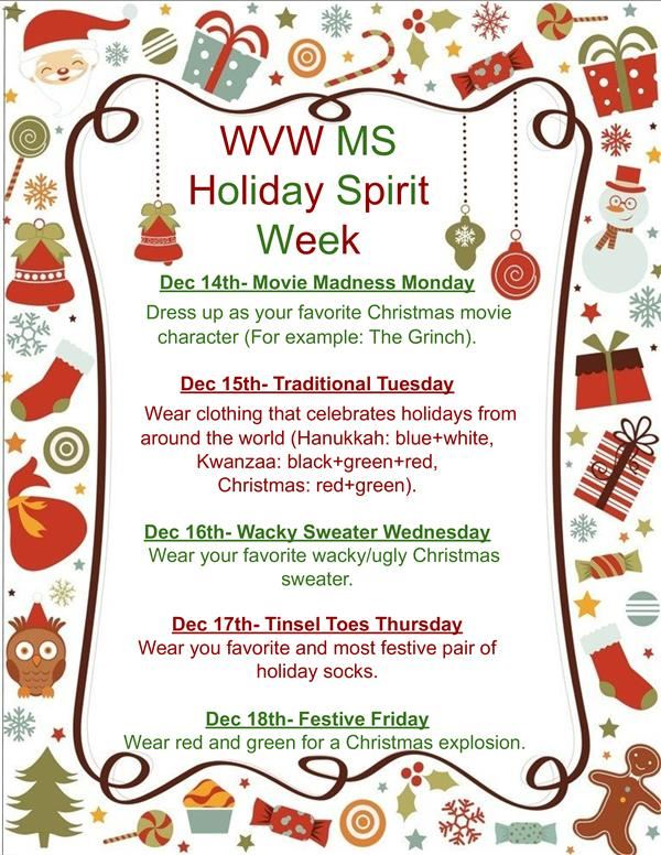 Wyoming Valley West Middle School Student Council Presents…  Holiday Spirit Week