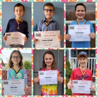 Dana Elementary Center Recognizes Students of the Month from a Social Distance. Feburary